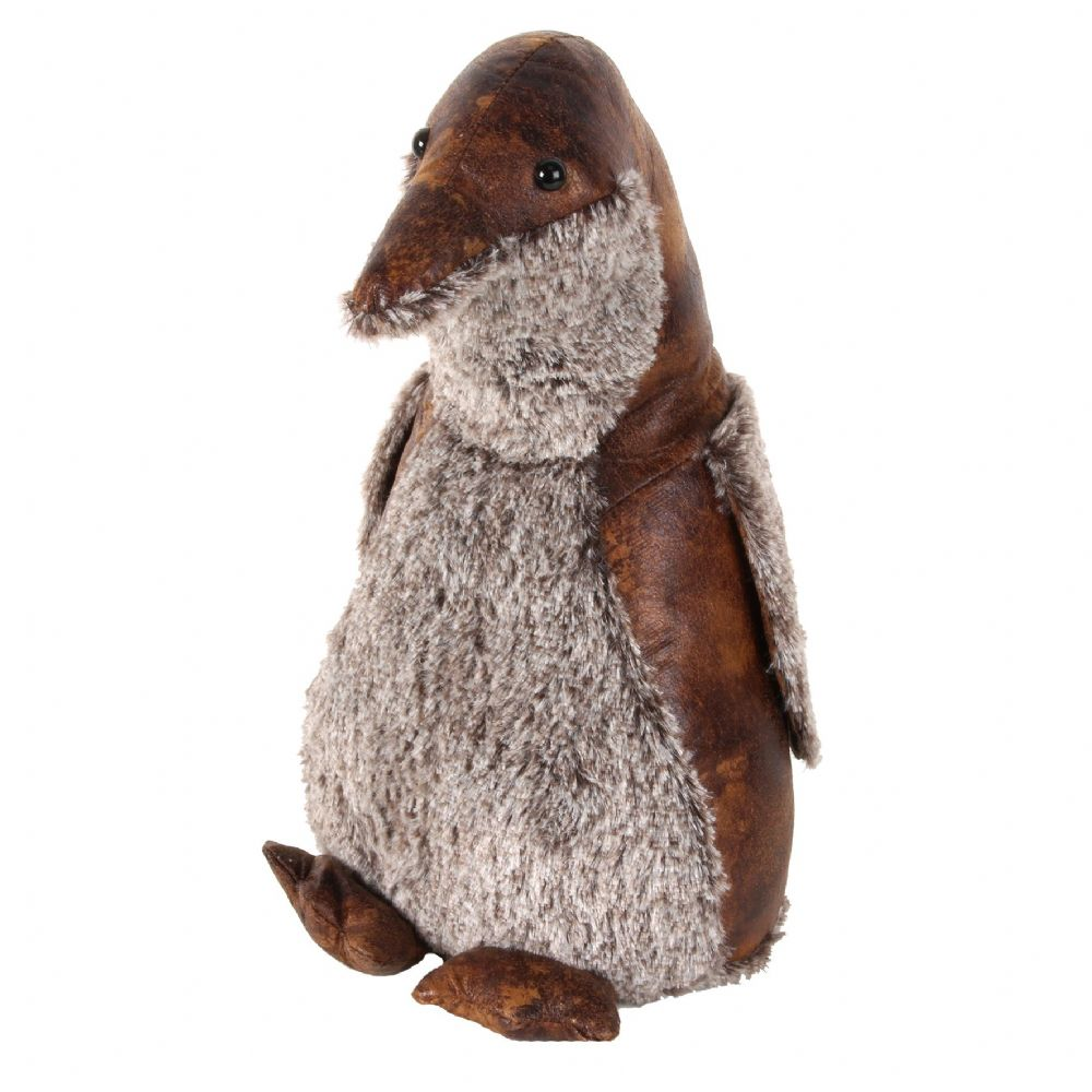 Brown Leather Effect Fluffy Luxury Animal Doorstop - Penguin
